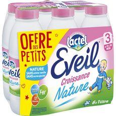 Lactel Eveil 3 lait de croissance liquide de 10 mois à 3 ans 6x1l