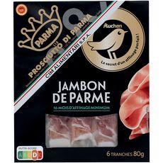 Auchan Gourmet Jambon de Parme 16 mois d'affinage 6 tranches 80g