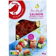 Auchan dés de saumon fumés aromatisés 90g