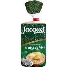 JACQUET Grands toasts ronds seigle spécial fruits de mer sans huile de palme 15 tranches 410g