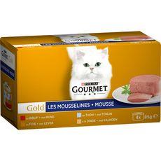 GOURMET Gold les mousselines boîtes mousse viandes poissons pour chat 4x85g
