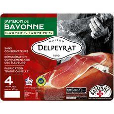 Delpeyrat Jambon de bayonne sans conservateurs IGP 4 grandes tranches 100g