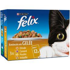 FELIX Sachets repas pâtée emincés en gelée viandes pour chat 12x100g