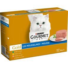 GOURMET Gold les mousselines boîtes mousse viande poisson pour chat 12x85g