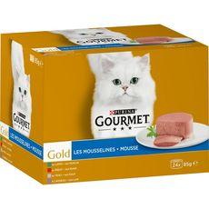 GOURMET Gold les mousselines boîtes patée mousse viandes pour chat 24x85g