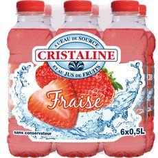 Cristaline Eau de source aromatisée au jus de fraise 6x50cl