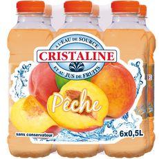 CRISTALINE Cristaline Eau de source aromatisée au jus de pêche 6x50cl 6x50cl