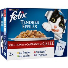 FELIX Sachets repas effilés pâtée en gelée viandes pour chat 12x100g
