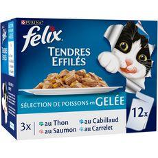 FELIX Sachets repas effilés en gelée aux poissons pour chat 12x100g