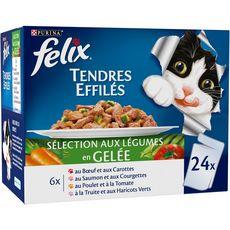 FELIX Sachets repas effilés en gelée viandes légumes pour chat 24x100g