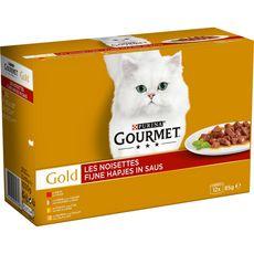 GOURMET Gold les noisettes barquettes pâtée viande poisson pour chat 12x85g