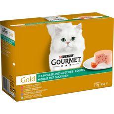 GOURMET Gold Boîtes mousselines poissons et viandes avec légumes pour chat 12x85g