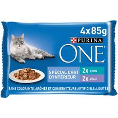 PURINA One sachets repas thon veau pour chat d'intérieur 4x85g
