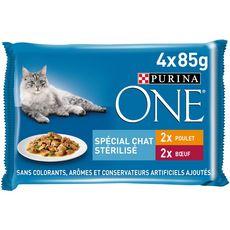 PURINA One sachets repas boeuf poulet pour chat stérilisé 4x85g