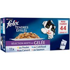 FELIX Sachets repas effilés en gelée viandes poissons pour chat 44x100g