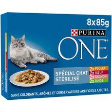 PURINA One sachets repas viandes poissons pour chat stérilisé 8x85g