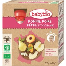 Babybio Gourde dessert pomme poire pêche  dès 6 mois 4x90g