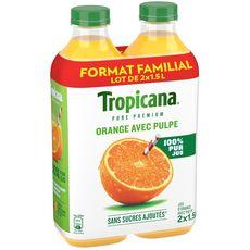 Tropicana pure premium orange avec pulpe 2x1,5l