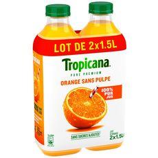 Tropicana Jus pure premium 100% orange sans pulpe 2x1,5l