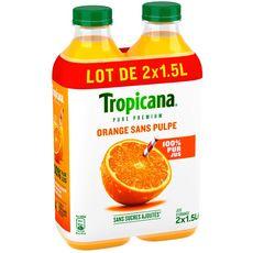Tropicana pure premium orange sans pulpe 2x1,5l familial