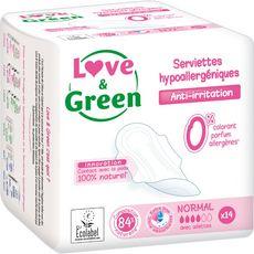 LOVE ET GREEN Love And Green Serviettes hygiéniques écologiques avec ailettes normal x14 14 serviettes