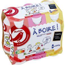 AUCHAN Panaché de yaourt à boire 6x180g