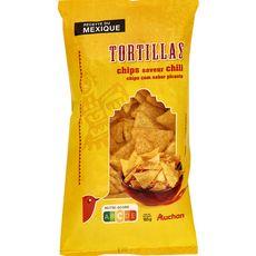 Auchan tortilla chips huile de tournesol chili 185g