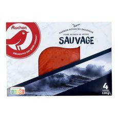 AUCHAN Saumon sauvage rouge du Pacifique fumé 4 tranches 120g