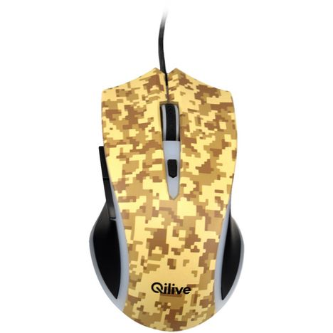 QILIVE Souris Gaming Filaire USB 2.0 Camouflage Jaune
