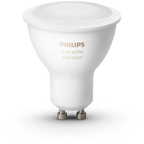 PHILIPS Lot de 2 Ampoules connectées Hue 6.5 W LED GU10 Bluetooth Blanc