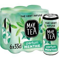 Maytea Thé vert infusé parfum menthe boîtes 6x33cl