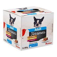AUCHAN Adult assortiment barquettes terrine pâtée viandes pour chien 3x300g