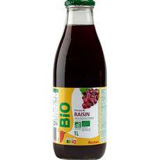 AUCHAN BIO Pur jus de raisin bouteille verre 1l