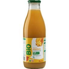 Auchan bio Pur jus d'ananas bouteille verre 1l