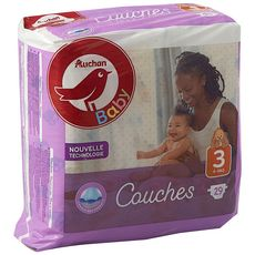 AUCHAN BABY Couches taille 3 (4-9kg) 29 couches