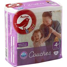 AUCHAN BABY Couches taille 4+ (9-20kg) 24 couches