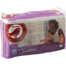 AUCHAN BABY Couches taille 3 (4-9kg) 50 couches
