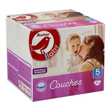 AUCHAN BABY Couches taille 5 (11-25kg) 80 couches