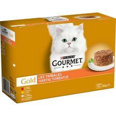 GOURMET Gold les timbales barquettes pâtée viande poisson pour chat 12x85g