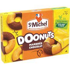 ST MICHEL St Michel 6 Doonuts marbrés au chocolat, sachets individuels 180g 6 gâteaux 180g