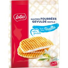 LOTUS Lotus Gaufres fourrées saveur vanille, sachets fraîcheur 5x2 gaufres 310g 5x2 gaufres 310g