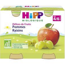 Hipp Petit pot dessert pommes raisins bio dès 4 mois 2x190g