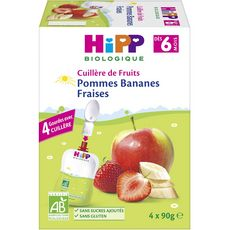 HIPP Hipp bio pomme banane fraise gourde 4x90g dès 6mois