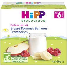 HIPP Petit pot dessert brassé pomme banane framboise bio dès 6 mois 4x100g