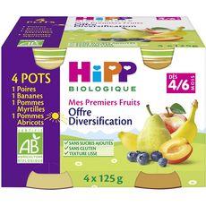 HIPP Hipp bio poire banane pomme myrtille 4x125g dès 4/6 mois