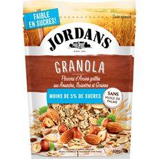 JORDAN'S Granola flocons d'avoine amandes noisettes graines, faible en sucres 400g