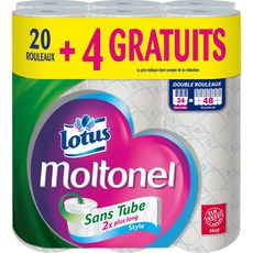 LOTUS Lotus moltonel papier toilette sans tube x20 +4offerts