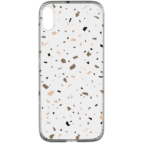 CELLULARLINE Coque de protection pour iPhone X/XS Transparent et beige Terrazzo