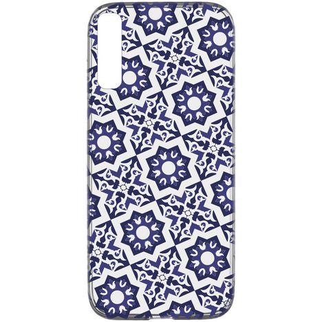 CELLULARLINE Coque de protection pour Samsung Galaxy A50 Transparent et bleu foncé Mosaïque