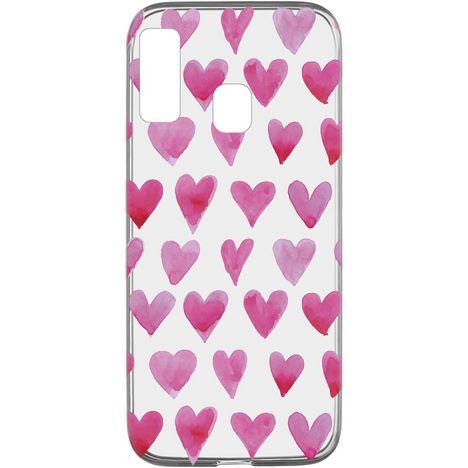 CELLULARLINE Coque de protection pour Samsung Galaxy A20E Transparent et rose Cœur